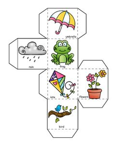 Spring Words Learning Cube, Roll, Graph and Count. Preschool Decor, Free Preschool, Preschool Printables, Graphing Activities, Toddler Learning Activities, Preschool Activities, Story Cubes, Spring Words, Halloween Activities For Kids