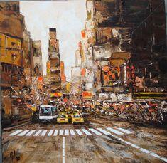 Time-Square-90x90.cm (Peinture), 100x100x2 cm par Yves LAC huile sur toile