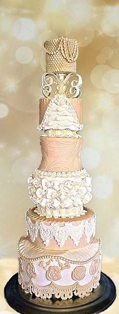Cake by Ellice Moniz from One More Bite Trinidad and Tobago using our Mandy, Peggy Sue and Karen lace molds