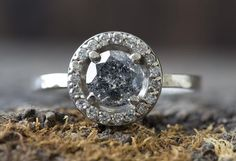 Natural Salt + Pepper Diamond Ring with Pavé Diamond Halo                                     – Alexis Russell
