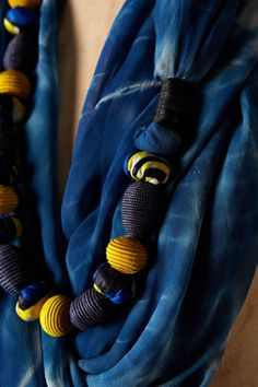 love the idea of stringing beads on a scarf | Beaded Shibori Scarf by Anthropologie