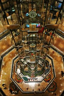 The famous elevator of Water Tower Place.