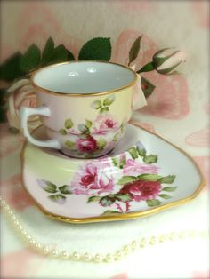 Beautiful Vintage Pink Roses Porcelain Teacup by HappyGalsVintage