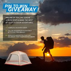 Enter for a Chance to Win 1 of 10 Lake Serene Screen House Tents. Enter here: http://contests.piqora.com/CelebrateYourIndependence