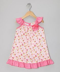 Take a look at this Pink Spring Ditsy Kelly Ruffle Dress - Toddler & Girls by Baby Nay on #zulily today!