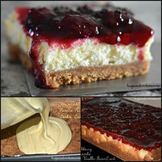 Blackberry cheesecake bars on a vanilla pecan crust Blackberries Ideas of Bl Blackberry Cheesecake, Blackberry Recipes, Cheesecake Recipes, Chocolate Cheesecake, Cheesecake Crust, Chocolate Tarts, Blackberry Benefits, Blackberry Scones, Blackberry Crisp