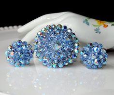 Vintage BLUE Aurora Borealis Faceted Bead by delightfuljewels, $35.00