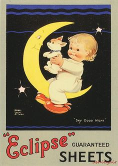 """MABEL LUCIE ATTWELL Advertising Postcard """"ECLIPSE"""" Guaranteed Sheets GOOD NIGHT"""