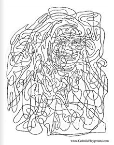 Hidden Saint Therese of Lisieux Catholic activity page for kids to color: Feast day of the Little Flower is October 1st |