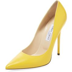 High heel pointed-toe pump * Leather upper * Covered heel * Leather insole Measurements: Heel height * This product was sourced for Gilt by a truste… Pointed Toe Pumps, High Heel Pumps, Pumps Heels, Stiletto Heels, Yellow High Heels, Yellow Pumps, Leather High Heels, Leather Shoes, Hipster Shoes