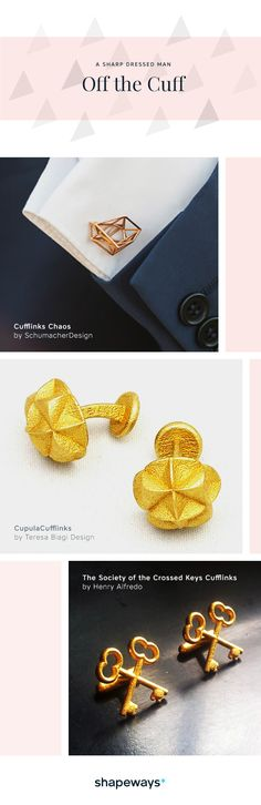 Whether you're looking for an anchor cufflink, or something completely mathematical, we've got you covered. Spanning multiple themes, like music, science, mathematic and more, Off The Cuff features the best cufflinks for every suit. So get dapper and shop the Off The Cuff cufflink collection by Shapeways.