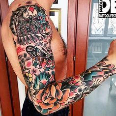 - Quick and Easy Natural Methods & Secrets to Eliminating the Unwanted Tattoo That You've Been Regretting for a Long Time Full Sleeve Tattoos, Tattoo Sleeve Designs, Tattoo Designs Men, Tattoo Sleeves, Neotraditionelles Tattoo, Pfau Tattoo, Traditional Tattoo Man, Traditional Ink, Badass Tattoos