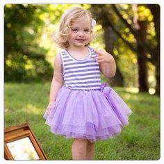 Striped Tutu Dress in Lavender from Miki and Alex Boutique