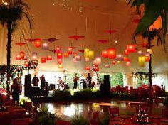 Hanging lanterns with parasols