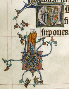 Gorleston Psalter - f. 94v:  detail of a marginal scene of a man watching a mass in an historiated initial
