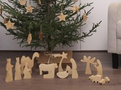 modern wood nativity oiled wooden nativity nativity set nativity scene nativity figures nativity silhouette - Wooden Nativity Set
