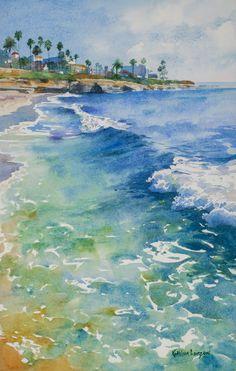 397 best watercolor - ocean images in 2019 Watercolor Ocean, Watercolor Landscape Paintings, Seascape Paintings, Landscape Art, Simple Watercolor, Tattoo Watercolor, Watercolor Trees, Watercolor Animals, Watercolor Background