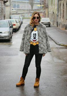 Swag Situation: Dunja wearing #asos Mickey Mouse shirt, #riverisland leather pants, #timberland boots, #miumiu sunglasses and #hm faux fur coat