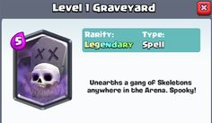 Here's a very comprehensive guide on the pros and cons of the graveyard card in Clash Royale. In addition this guide will help give you knowledge on how to use the graveyard card properly, how to counter it and how to counter the counters for this card. Enjoy!