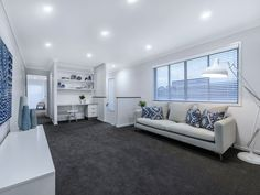 A range of Ausbuild display homes are conveniently located throughout Brisbane. Find the home that's perfect for you with Ausbuild. Dark Grey Carpet Living Room, Living Room Grey, Home Living Room, Living Room Decor, Dark Carpet, Bedroom Flooring, Living Room Remodel, Bedroom Carpet, Living Room Colors