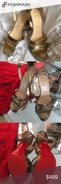 Christian Louboutin Metallic Heels Pictures seriously do not do these babies justice. Sadly letting them go because they do not fit me. They are in AMAZING condition. Bottoms have protective sole on them. They come with dust bag! Size 38. Christian Louboutin Shoes Heels