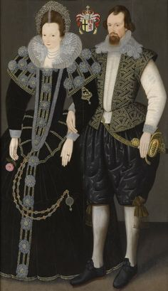 Sir Reginald and Lady Mohun. Sir Reginald Mohun, born 1564 and Baronet (c 1603 - c was an English politician who sat in the House of Commons in 1625 and Philip Mould, London collection. Elizabethan Fashion, Elizabethan Era, Elizabethan Clothing, Historical Costume, Historical Clothing, Elisabeth I, Arte Fashion, Disco Fashion, 17th Century Fashion
