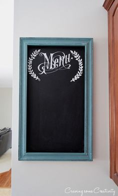 Chalk Board framed menu decor project made with a silhouette cutting machine. Turn Inexpensive Frames Into Chalkboard Signs - Paint the frame, and then paint the inside with chalkboard paint. Cute kitchen for the kitchen wall.