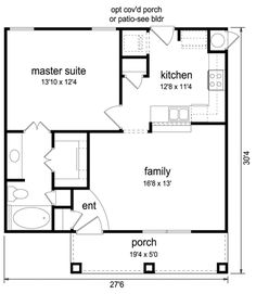 Craftsman Style House Plan - 1 Beds 1 Baths 697 Sq/Ft Plan #84-499 Main Floor Plan - Houseplans.com Small, need to add garage