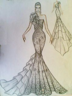 Dress Design Drawing, Dress Design Sketches, Fashion Design Sketchbook, Fashion Design Portfolio, Fashion Design Drawings, Dress Drawing, Fashion Sketches, Fashion Figure Drawing, Fashion Drawing Dresses