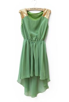 Sequined Solid Waist Irregular Chiffon Dress Green