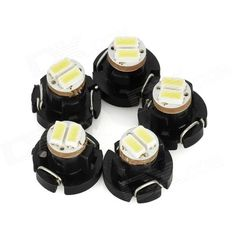 Quantity: 5 Piece; Casing Color: Black; Material: ABS + PCB; Emitter Type: SMD 3014 LED; Total Emitters: 2; Light Color: White; Rated Voltage: 12V; Power: 0.4W; Luminous Flux: 16lm; Color Temperature: 6500K; Connector Type: T3; Application: Instrument lamp; Packing List: 5 x Lamps; http://j.mp/1lkw2os