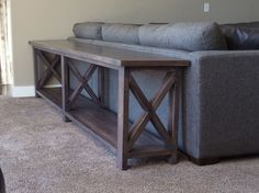Extra long, no middle shelf Rustic X Console | Do It Yourself Home Projects from Ana White