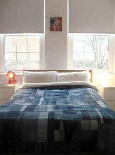 "Another stunning ""old denim jeans"" used to make a quilt / bed cover"