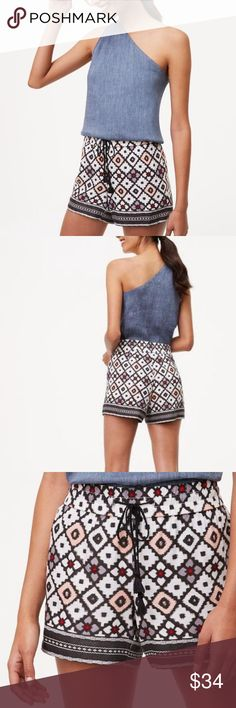 """LOFT Patchwork Shorts New (with tags!) Patchwork Shorts in a size 12 with an inseam of 4"""" and a drawstring waist. Too adorable (and comfortable)! Retail $54.50. LOFT Shorts"""
