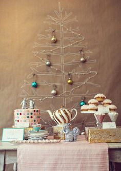 Christmas.Party{white marker tree, stitched twinkle lights, and hanging ornaments backdrop}