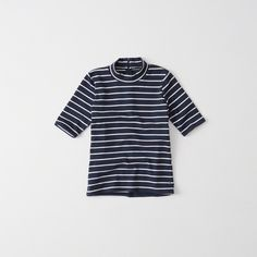 Abercrombie & Fitch Slim Mock Neck Tee ($24) ❤ liked on Polyvore featuring tops, t-shirts, navy stripe, slim t shirts, short sleeve t shirts, navy striped t shirt, navy blue t shirt and slim tee