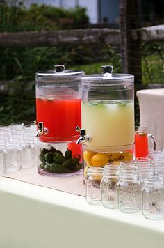 Invest in some fun glassware for your event that your guests will love! These are ideal for making batched drinks.