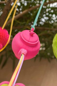 "Hanging Teapot with ""Ribbon Tea"" from an Alice in Wonderland Birthday Party via Kara's Party Ideas KarasPartyIdeas.com (16)"