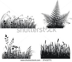 Collection of vector grass silhouette
