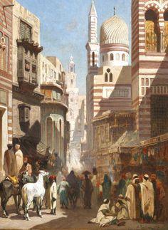 Alberto Pasini (1826-1899) Rue Al-Khudayri, Le Caire Huile sur panneau  signé et daté 1861 en bas droite 35 x 25 cm  - Galerie Ary Jan