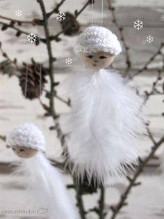 NaturDekoHerz: Weiße Weihnachten? - DIY Schneeflocken mit Häkelkappen