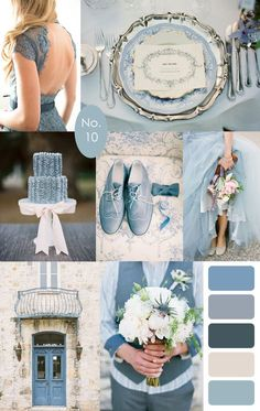 French Blue Wedding Color Palette Inspiration. Dusty blue. Rich romantic flowers, and gold and silver metallics.