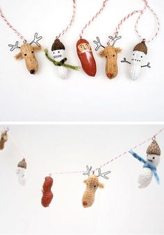 Peanut Creatures for Ornaments and Garlands | 51 Hopelessly Adorable DIY Christmas Decorations