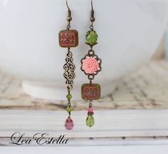 Pink and Olive Asymmetrical earrings, Pink boho jewelry Olive boho earrings, Pink Flower Earrings, Hippie Jewelry, Unusual earrings- Olive