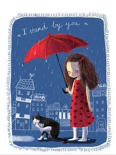 Sweet illustration of a young girl & her cat in the rain under an umbrella together♥≻★≺♥ Umbrella Art, Under My Umbrella, Crazy Cat Lady, Singing In The Rain, Children's Book Illustration, Whimsical Art, Cat Art, Zentangle, Cat Lovers