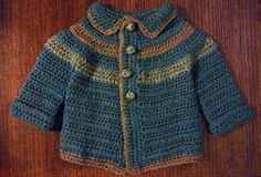 Little Boy Blue Crochet Denim Stripe Baby Button-Down Sweater W/Bonus Matching Booties in Lt. Grey and Cocoa. One-of-a-kind.