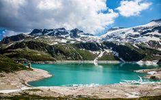 Download wallpapers Austrian Alps, 4k, mountain lake, mountains, Austria, Europe, Alps