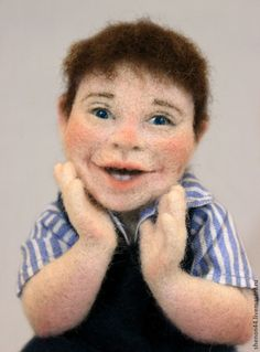 Купить Шутка - синий, валяная кукла, Сухое валяние, Мокрое валяние, мальчик, ребенок, клоун. Happy Boy.