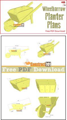 Wheelbarrow planter plans - free PDF download, material list, step-by-step plans.