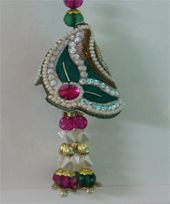 Designer Green Moti Lumba for Bhabhi ( 1 pc ) ( Free Roli Chawal and 2 eclairs)